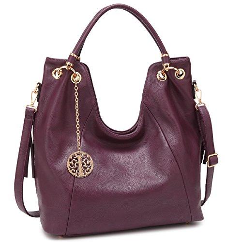 Shoulder Hobo Bag Top Zip Purse Fashion Vegan Handbag w/ Long Strap Side Zipper Pockets Purple - Zip Top Hobo Handbag