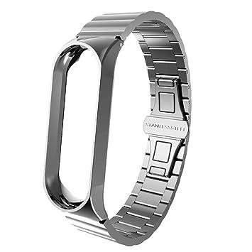 Malloom Moda de Lujo Correa de Acero Inoxidable Pulsera Reloj Banda Correa para XiaoMi mi Band 3: Amazon.es: Deportes y aire libre