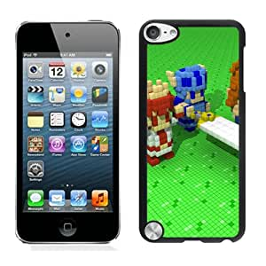 Easy Set,Game Case with 3d Dot Game Heroes Pixel Cube Green Sword Ipod Touch 5th Phone Case in Black