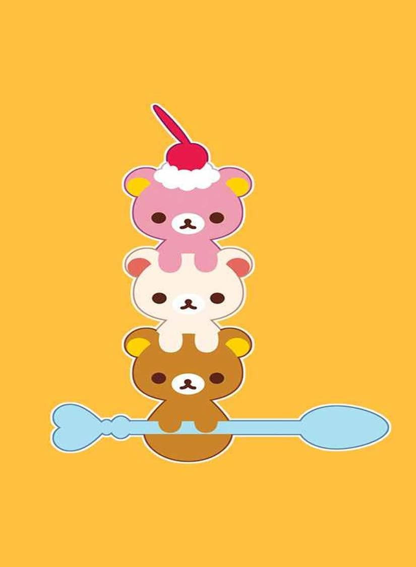 Rectangle Refrigerator Magnet - Cute Teddy Bears w/Ice Cream Spoon & Cherry On Top
