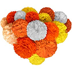 Voplop Paper Pom Poms - 20 pcs of 8, 10, 14 Inch - Paper Flowers - Perfect For Wedding Decor - Birthday Celebration - Table and Wall Decoration (Orange mix)