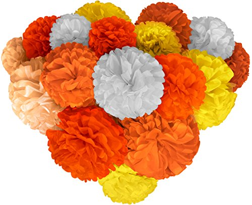 Wall Decor Kit (Voplop Paper Pom Poms - 20 pcs of 8, 10, 14 Inch - Paper Flowers - Perfect For Wedding Decor - Birthday Celebration - Table and Wall Decoration (Orange mix))