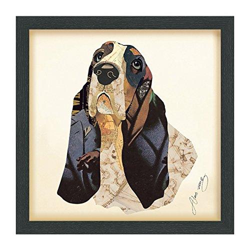 Empire Art Direct Basset Hound Dimensional Collage Handmade by Alex Zeng Framed Graphic Dog Wall Art, 17