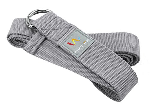 Wacces D-Ring Buckle Cotton Yoga Straps Bands - Best for Stretching (Gray, 10 ft)