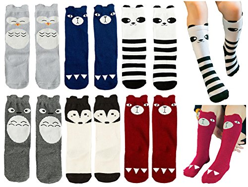 Toptim Baby Girls Boys Knee High Stockings Unisex Cartoon Animal Socks 6 Pairs (1-3T)]()