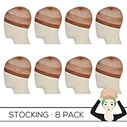 REECHO 8 Pack Wig Caps for Women Men One-Size Halloween Costume Cosplay Accessory Stocking Nylon Color Dark Brown