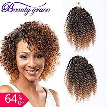 BeautyGrace Pack of 3 Marlybob Crochet Braids Hair Ombre Afro Kinky Curly Braiding Hair Extensions for Girl Women(8, T1b/27#)