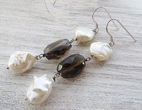 Pearl Smoky Quartz Earrings - Smoky quartz earrings, baroque pearl earrings, sterling silver 925 earrings, drop earrings, semi precious stone jewelry, italian jewelry