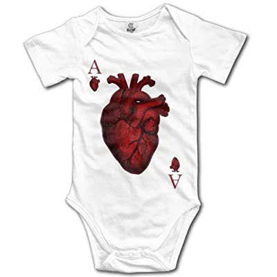 Baby Onesie Girl Boy Outfit Baby Jumpsuit Creeper Short Sleeve Heart Ace: Ropa y accesorios