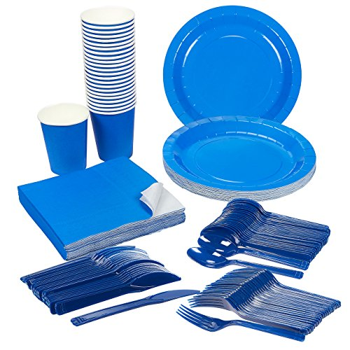 Disposable-Dinnerware-Set-Serves-24-Blue-Party-Supplies-Includes-Plastic-Knives-Spoons-Forks-Paper-Plates-Napkins-Cups-Blue