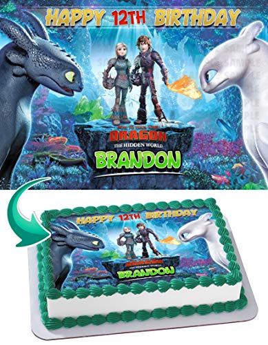 How to Train Your Dragon The Hidden World Edible Cake Image Topper Personalized Birthday 1/4 Sheet Custom Sheet Party Birthday Sugar Frosting Transfer Fondant Image