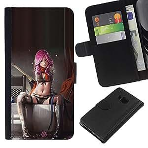 KingStore / Leather Etui en cuir / HTC One M7 / Suicide Lingerie Femme Bébé