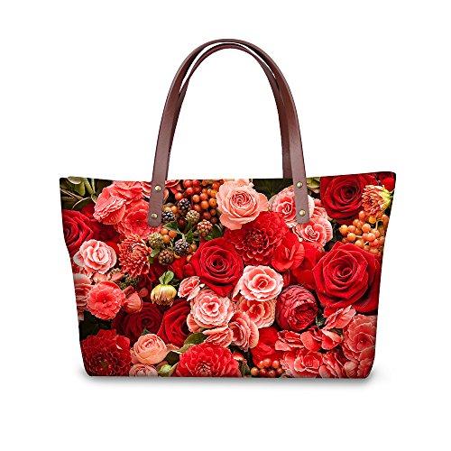 FOR U DESIGNS Colorful Rose Flower Print Casual Women Strip Single Shoulder Bag
