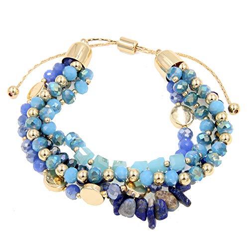 YUJIAXU Adjustable Glass Stone Multistrand Layered Bracelet, Semiprecious Stone Beaded Bracelet Set Navy Blue