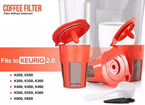3 Pack Refillable K Carafe 2.0 Filter Coffee Capsule Reusable Coffee Filter for K 2.0, K200, K300, K400, K500 by MG Coffee