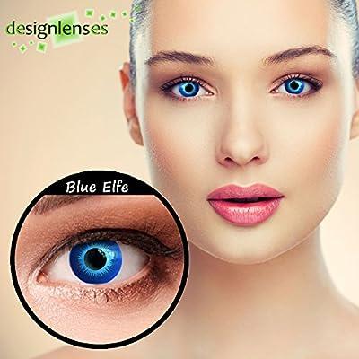 """Lentillas de color azul para Halloween duende lentillas sin dioprtías/corregir + gratis caso de lente """"Blue Elfe"""