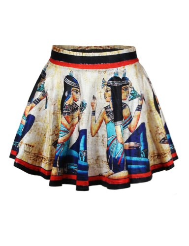 LaSuiveur Womens Egypt Mural Digital Print Stretchy Flared Pleated Casual Mini Skirt ()