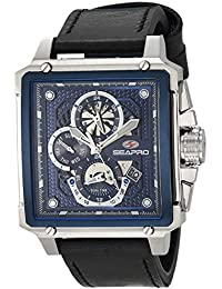 Men's Dual Timer Stainless Steel Quartz Leather Strap, Black, 24 Casual Watch (Model: SP0112)