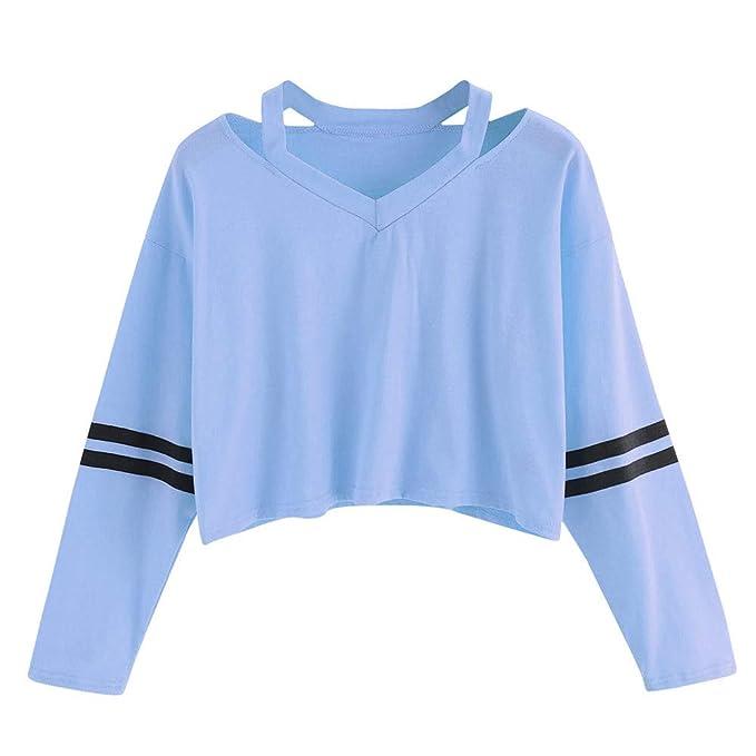 ZTTONE Fashion Womens Long Sleeve V-Neck Two-Bar Print Sweatshirt Causal Tops Blouse at Amazon Womens Clothing store: