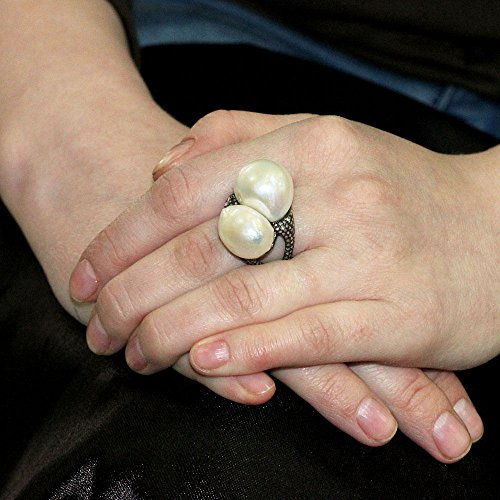 Pearl 14k Gold Diamond Pave Sterling Silver Ring Antique Style Women Jewelry 7