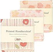 Nawrap Printed Handkerchief Set of 3, Rose, Flower & P