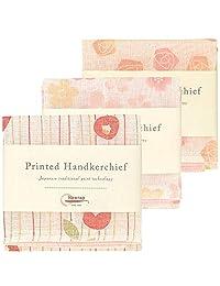 Nawrap Printed Handkerchief Set of 3, Rose, Flower & Poppy