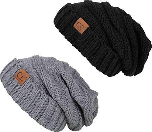 H-6100-2-0651 Oversized Beanie Bundle - Black & Heather Grey (2 Pack)