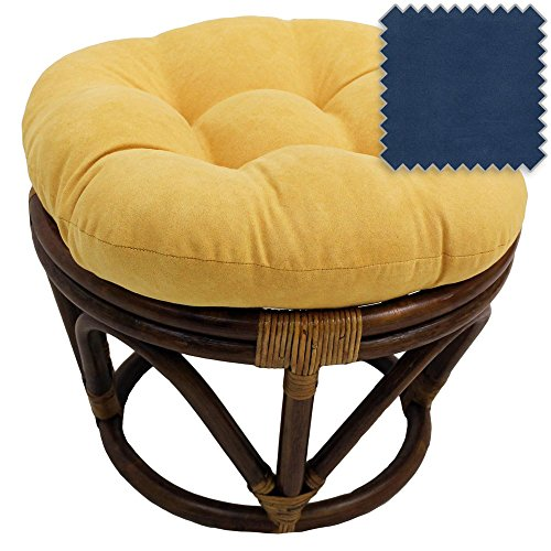 - 18-Inch Bali Rattan Papasan Footstool with Cushion - Solid Microsuede Fabric, Indigo - DCG Stores Exclusive