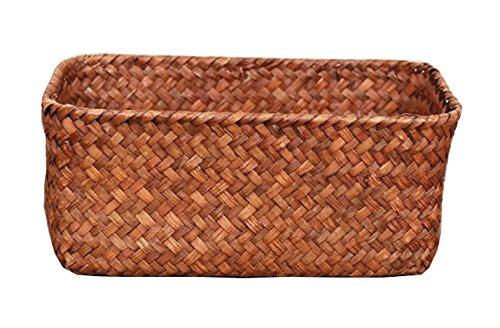 Seagrass Basket Weaved Rectangular Storage Cube Basket Organizer Storage Small Fruit Vegetable Rack Tray Woven Silverware Picnic Basket Decorative Kitchen Waste Hamper Display(Sea Grass Baske S) by YAKU