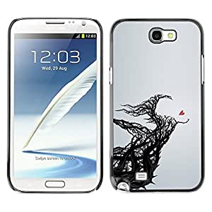 LECELL--Funda protectora / Cubierta / Piel For Samsung Galaxy Note 2 N7100 -- Heart Meaning Deep Grey Black Branch --