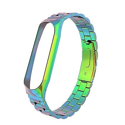 Zolimx Pulsera de Acero Inoxidable Reloj Banda Correa para Xiaomi Mi Band 3 Smartwatch