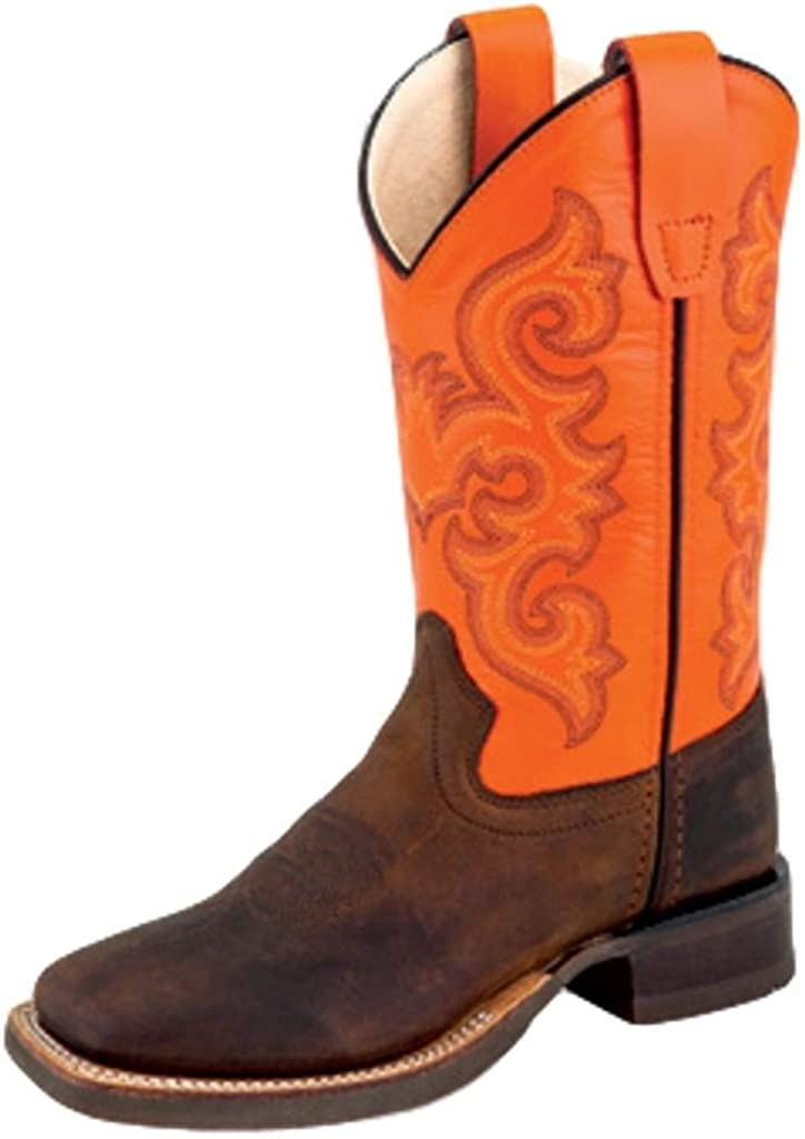Kids Unisex Real Leather Cowboy Boots Honey Brown Square Toe Botas Rancho