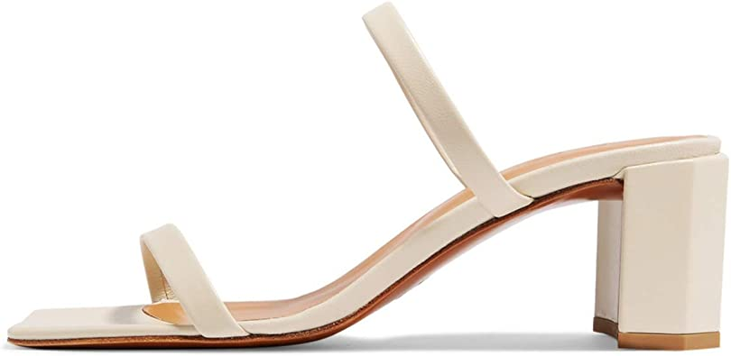vivianly Womens Chunky Low Heeled Sandals Square Open Toe Sandal with Buckle Ankle Strap