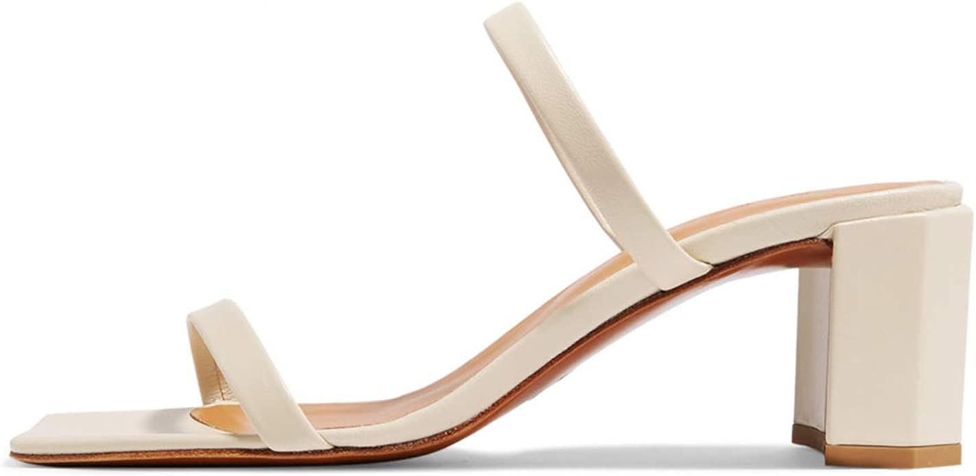Womens Straps Summer Mid Heels Sandals Ladies  Square Toe Slippers Casual Shoes