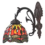 Bieye Tiffany Style Stained Glass Dragonfly Wall Sconce Lamp Fixture with 6 inches Handmade Lamp Shade (Red Single Downlight)