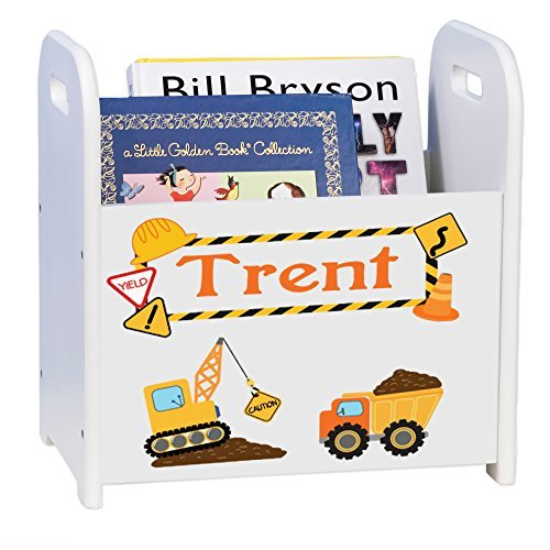 MyBambino Personalized Construction White Book Caddy and Rack