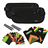 Homfu RFID Money Belt for Travel wallet with 6 x Credit Card Protector and 2 x Passport pouch holder Waterpoof Secure RFID-blocker waist pack stash for women men running (2 Pack Black)