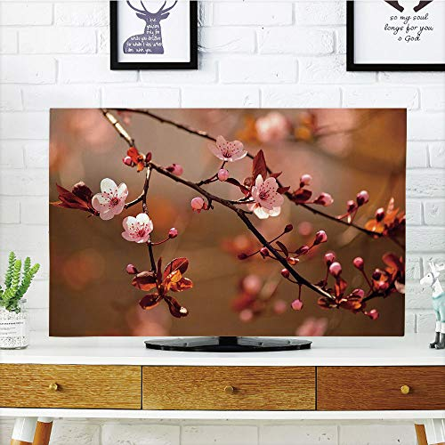iPrint LCD TV Cover Lovely,Nature,Cherry Blossom Sakura Tree Branches Flowering Japanese Flourishing Print Decorative,Light Pink Dark Coral,Diversified Design Compatible 55