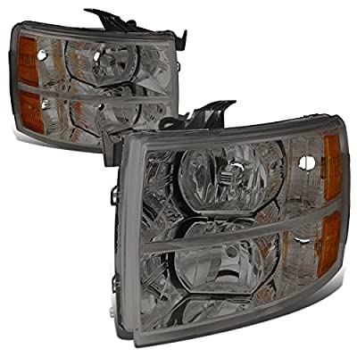DNA Motoring HL-OH-CSIL07-SM-AM Headlight Assembly Driver and Passenger Side [for 07-14 Chevy Silverado 1500/2500/3500 /HD Models]: Automotive