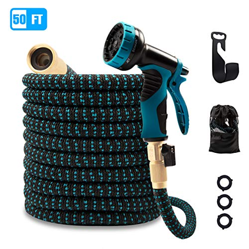 ANNOR 50ft Expandable Garden Hose, Durable Flexible Expanding Water Hose with 9 Function Spray Hose Nozzle, 3/4″ Solid Brass Connectors & Double Latex Core Garden Hose for Watering/Washing