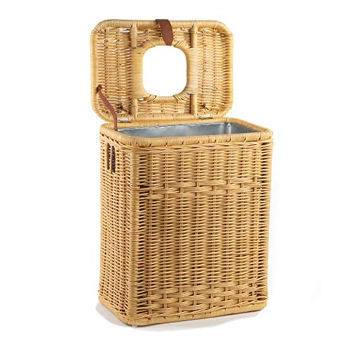 The Basket Lady Drop-In Wicker Rectangular Trash Basket with Metal Liner, One Size, Toasted Oat ()