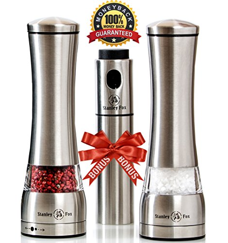 Premium Salt and Pepper Grinder Set of 3, Brushed Stainless Steel Salt and Pepper Shakers - Pepper Mill and Salt Mill -Adjustable Ceramic Rotor - Oil Sprayer and Gift Box by Stanley Fox Stanley Dining Room