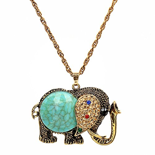 Yiwa Women's Elephant Shape Pendant Sweater Chain Necklace