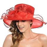 Women's Sheer Wide Brim Sun Party Church Wedding Floral Organza Hat(red)