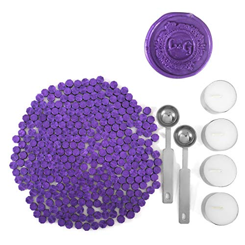 Purple Wax Seal Beads, Yoption 300 Pieces Octagon Sealing Wax Sticks Beads with 4 Candles and 2 Melting Spoons for Seal Stamp (Purple) -