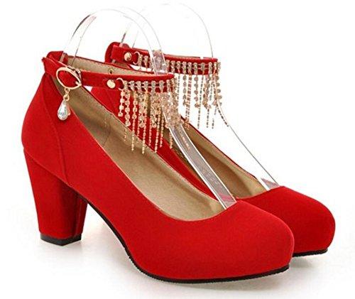 Easemax Womens Elegante Punta Rotonda Strass Con Fibbia Cinturino Alla Caviglia Con Cinturino Alla Caviglia, Scarpe Rosse