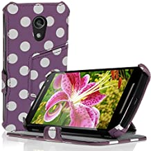 iGadgitz 'Vintage Collection' Folio Purple with White Polka Dot PU Leather Case Cover for Motorola Moto G 2nd Generation 2014 XT1068 (G2) with Multi-Angle Viewing Stand + Auto Sleep/Wake + Screen Protector