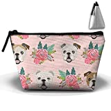 Mkqgswd English Bulldog Pink Florals Women¡¯s Travel Cosmetic Bags Makeup Clutch Pouch Cosmetic And Toiletries Organizer Bag