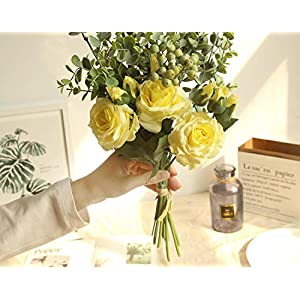 Bridal Rose Wedding Bouquet Bridesmaid Peony Eucalyptus Leaves Bouquets Artificial Silk Flowers Arrangement,Small-White 3