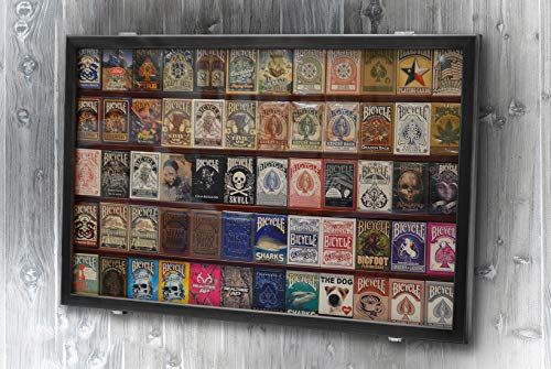 The Playing Card Frame - 60 Deck Wooden Black Cards Display by Gamblers Warehouse